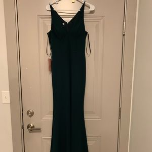 BHLDN dark emerald long dress